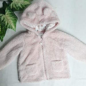 Carters Baby Girl Pink Fuzzy Bear Jacket Sz 6M